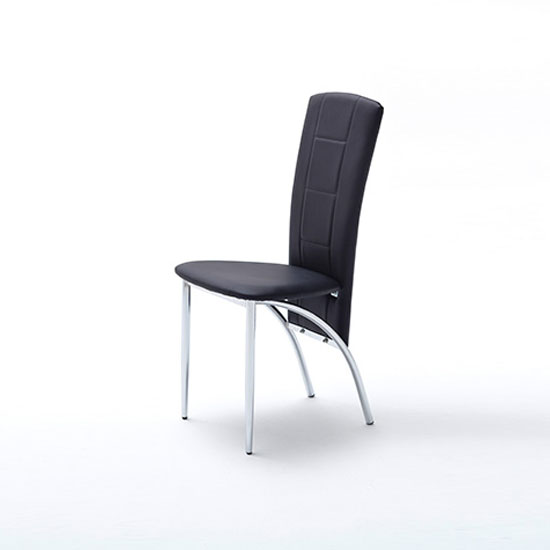 Read more about Berit metal swinging black faux leather dining chair