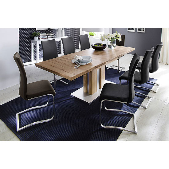 Bergamo Extendable Solid Oak Dining Table With 8 Arco Chairs