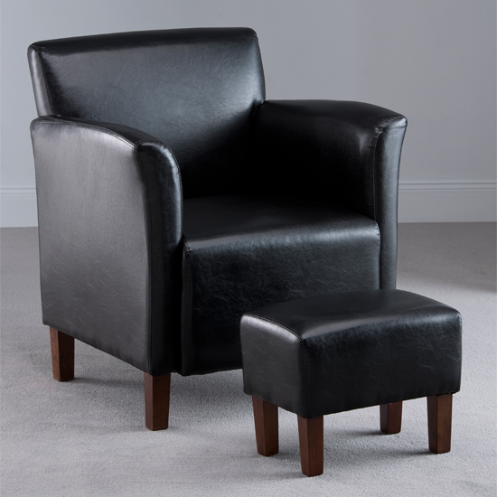 Berkley Black Faux Leather Armchair with Footstool