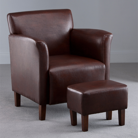Berkley Brown Faux Leather Armchair with Footstool
