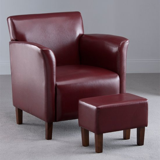 Berkley Burgundy Faux Leather Armchair with Footstool