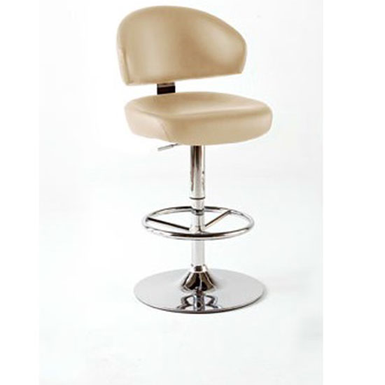 Bingo Cream Bar Stool In Faux Leather With Chrome Base