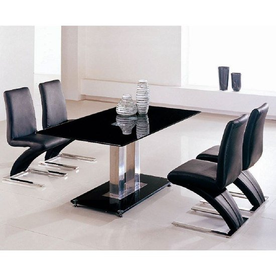 Jet Black Glass Dining Table With 6 Z Demi Dining Chairs