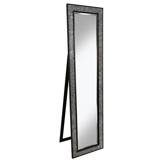 Aliza Floor Standing Cheval Mirror In Black Silver Mosaic Frame