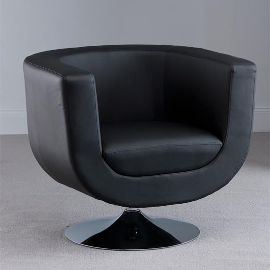 Havana Swivel Black Faux Leather Tub Chair Furniture In