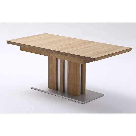 Bolzano Extendable Dining Table In Solid Oak With Steel Base