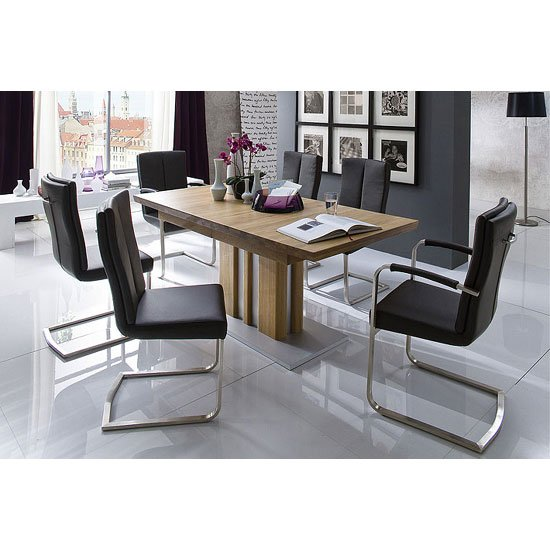Bolzano Extendable Solid Oak Dining Table With 6 Luna Chairs