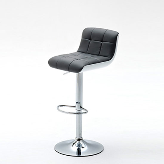 Bob Grey Bar Stool In Faux Leather With Chrome Base
