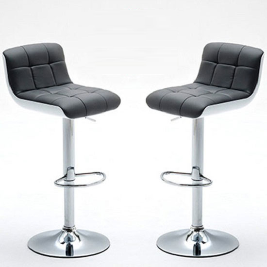 Bob Bar Stools In Grey Faux Leather in A Pair