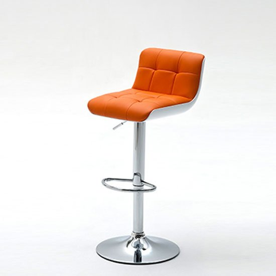 Bob Orange Bar Stool In Faux Leather With Chrome Base