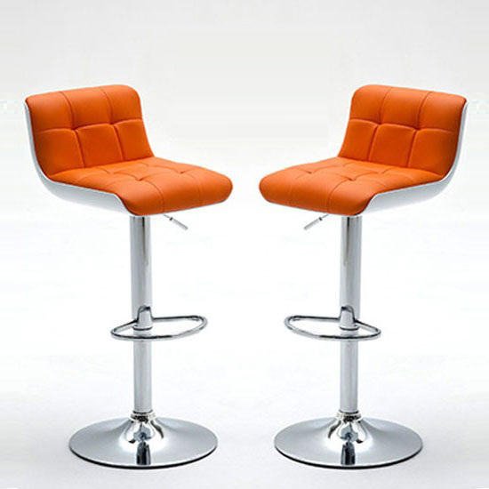 Bob Bar Stools In Orange Faux Leather in A Pair