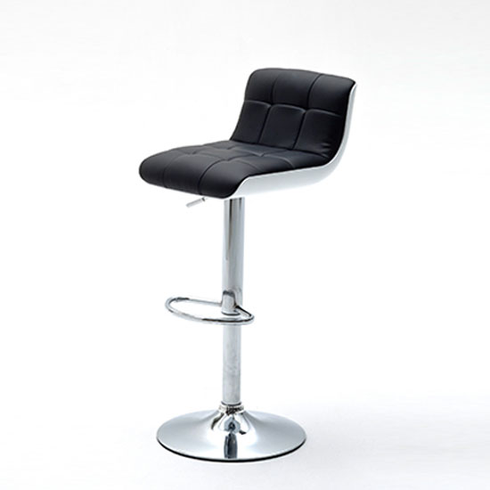Bob Black Bar Stool In Faux Leather With Chrome Base