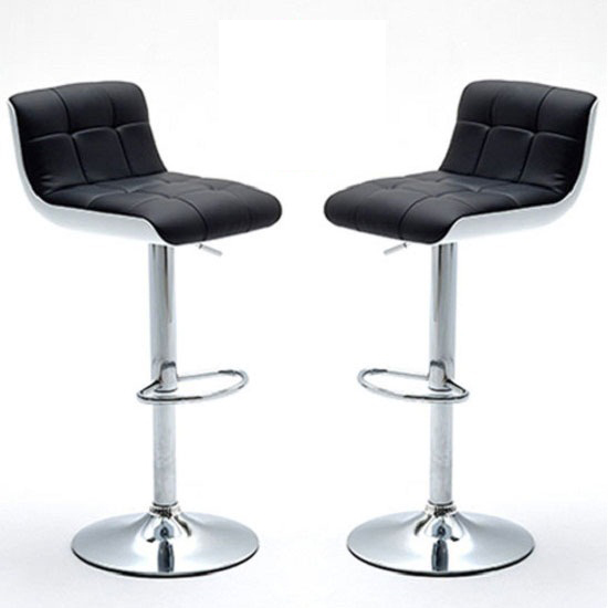 Bob Bar Stools In Black Faux Leather in A Pair