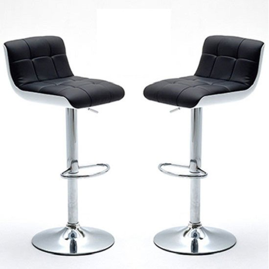 Bob Bar Stools In Black Faux Leather In A Pair 23419