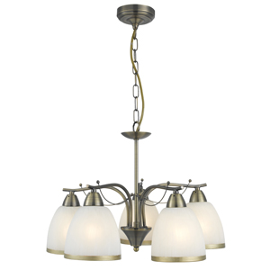 Brahama Antique Brass 5 Lamp Ceiling Light With Opal Glass