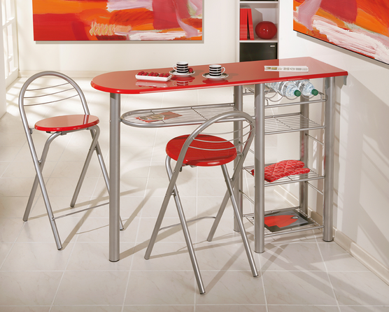 brigitte kitchen bar table with 2 red stools - Kitchen Bar Table