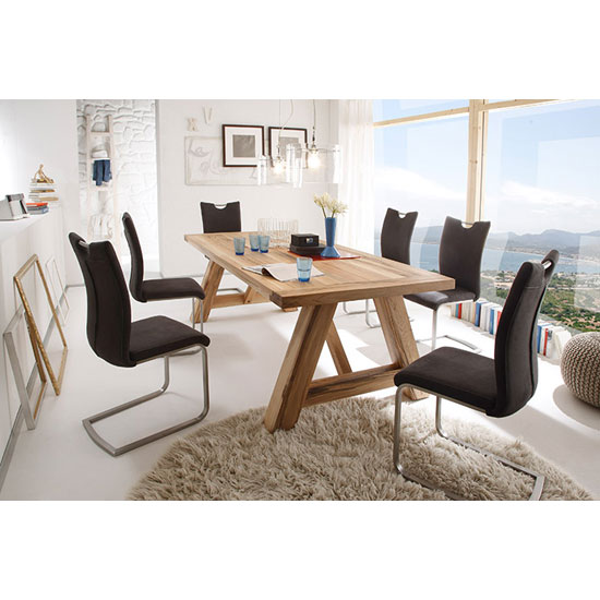 Bristol 6 Seater Wooden Dining Table With Pavo Dining Room Chair