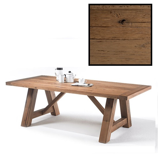 Bristol 220cm Dining Table In Solid Bassano Oak With 4 Legs