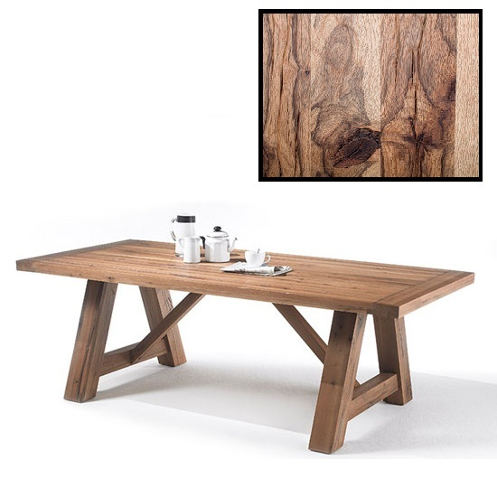 Bristol Wooden Dining Table In Solid Wild Oak In 220cm
