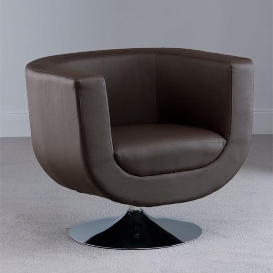 Havana Swivel Brown Faux Leather Tub Chair 18585 Furniture