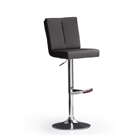 Bruni Black Bar Stool In Faux Leather With Round Chrome Base