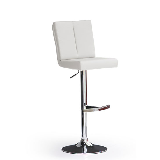 Bruni White Bar Stool In Faux Leather With Round Chrome Base