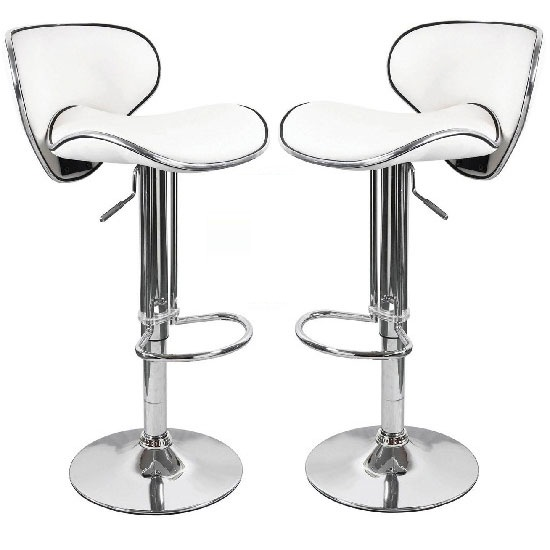 Duo Bar Stools In White Faux Leather in A Pair