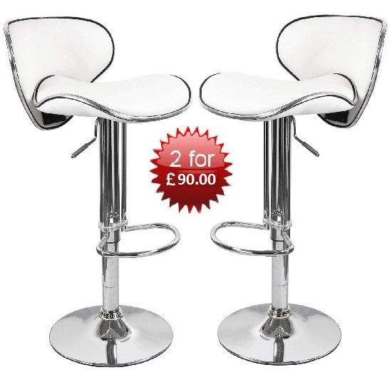 Buy 2 Duo White Bar Stools With Chrome Base For £90.00