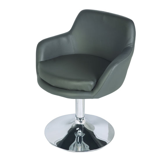 Bucketeer Bar Chair In Charcoal Grey With Chrome Base