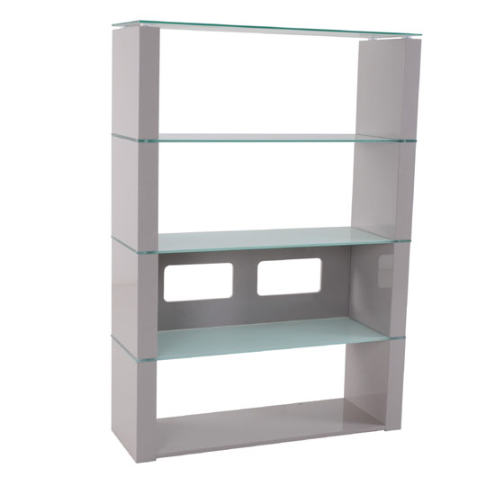 Crystal High Gloss Shelving Unit With White Glass Shelves