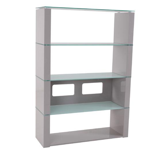 Crystal high gloss shelving unit with white glass shelves - Glass shelf unit living room ...