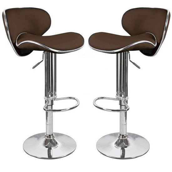 Duo Bar Stools In Brown Faux Leather in A Pair