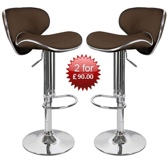 Buy 2 Duo Brown Bar Stools With Chrome Base For £90.00