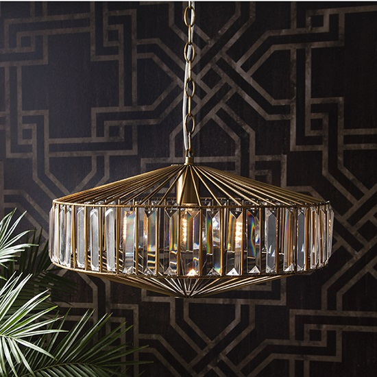 Orton Modern Jewelled Ceiling Light In Metal Cage