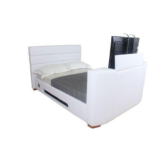 Balmain White Faux Leather Finish Double TV Bed