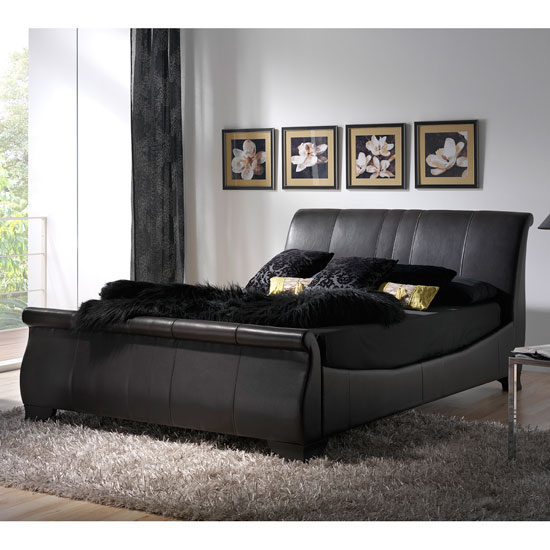Read more about Bamburgh brown genuine leather sleigh style beds