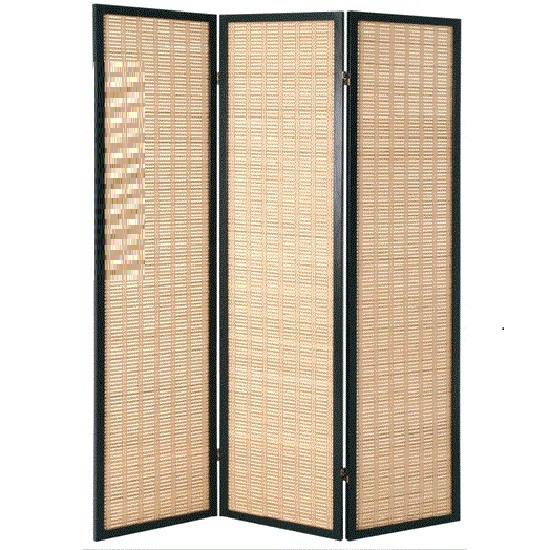 Bamboo Black Room Divider With Wood 3 Panel - Bamboo Black Room Divider With Wood 3 Panel 1357 Furniture