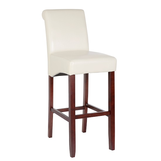 Monte Carlo High Bar Chair In Cream Faux Leather With Wenge Legs