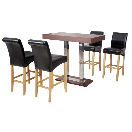 Caprice wenge bar table and 4 monte carlo black bar chairs for Table basse bar wenge