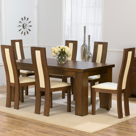 Barcelona Dark 180cm Table x 6 Havana Ivory - French Dining Room Furniture - The One Stop Solution for Your Dinner Party