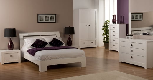 Bari High Gloss Double Bed In White 9