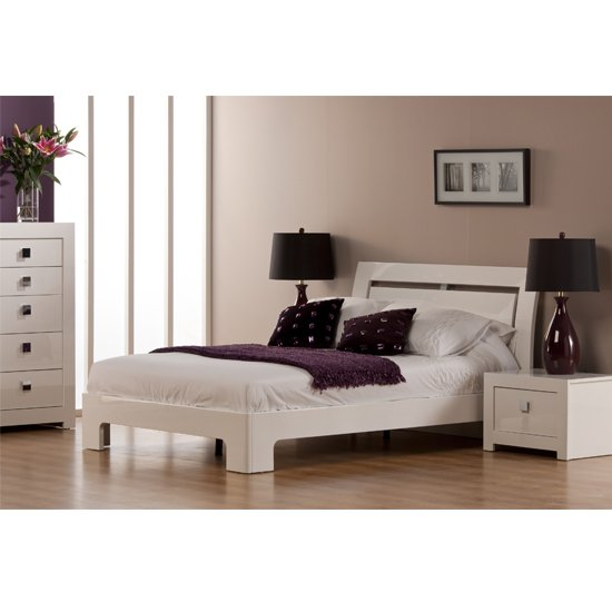 Bari High Gloss Double Bed in White