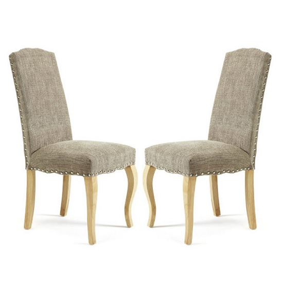 Madeline Dining Chair In Bark Fabric And Oak Legs in A Pair