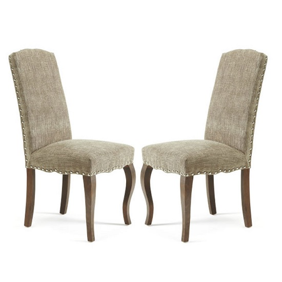 Madeline Dining Chair In Bark Fabric And Walnut Legs in A Pair