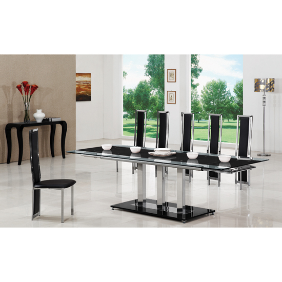 Tripod Black Extending Glass Dining Table And 8 G601 Chairs