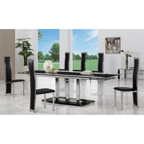 Tripod black extending glass dining table and 8 g650 chairs for Dining room tables 8 seater