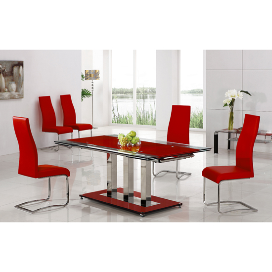 Tripod Red Extending Glass Dining Table And 8 G632 Chairs