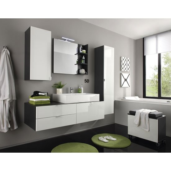 Beach Bathroom Set In Grey With White Gloss Fronts And Lighting