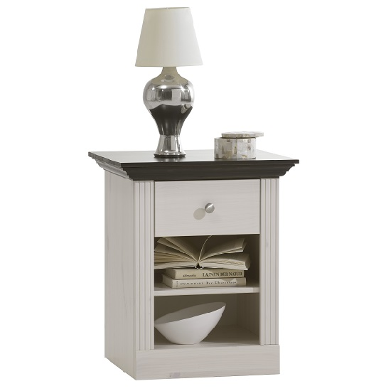 Read more about Monika bedside cabinet in white black solid pine and 1 drawer