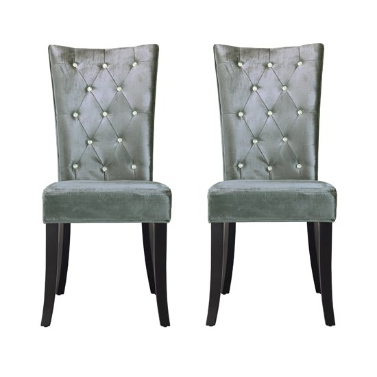 Belfast Dining Chair In Crushed Silver Velvet in A Pair